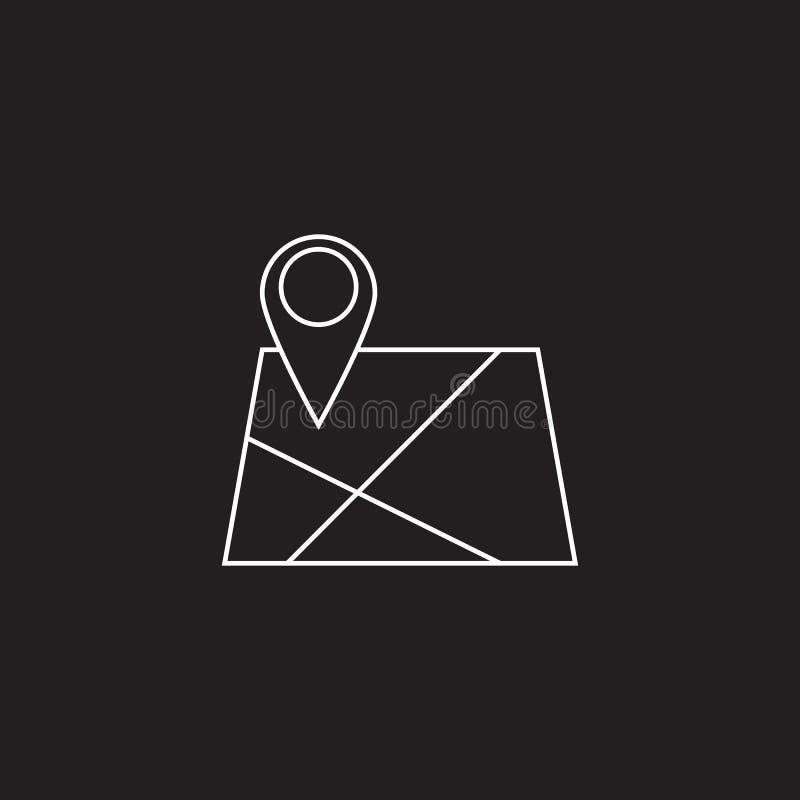 Översikt med den Pin Pointer linjen symbol, logo för lägeöversiktsvektor dåligt stock illustrationer