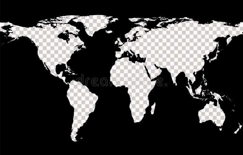 Översikt med efterföljd av genomskinliga kontinenter stock illustrationer