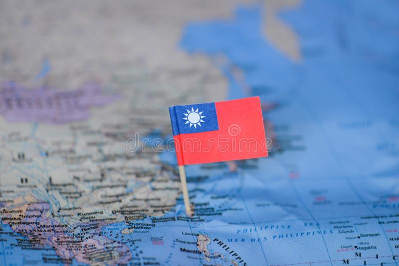 Översikt med flaggan av Taiwan royaltyfri foto