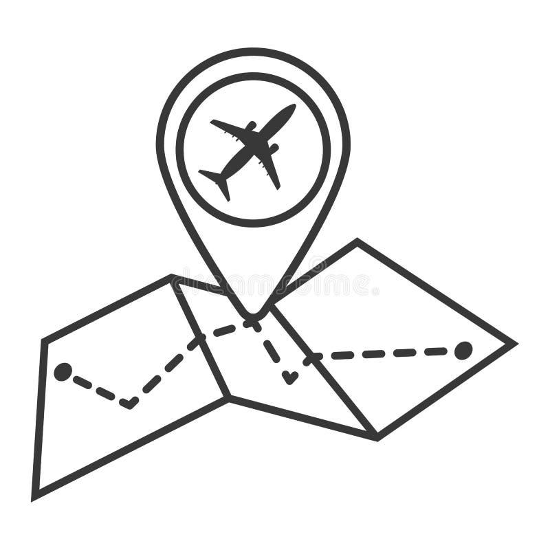 Översikt med flygplansymbolen i moderiktig plan stil som isoleras på vit b royaltyfri illustrationer