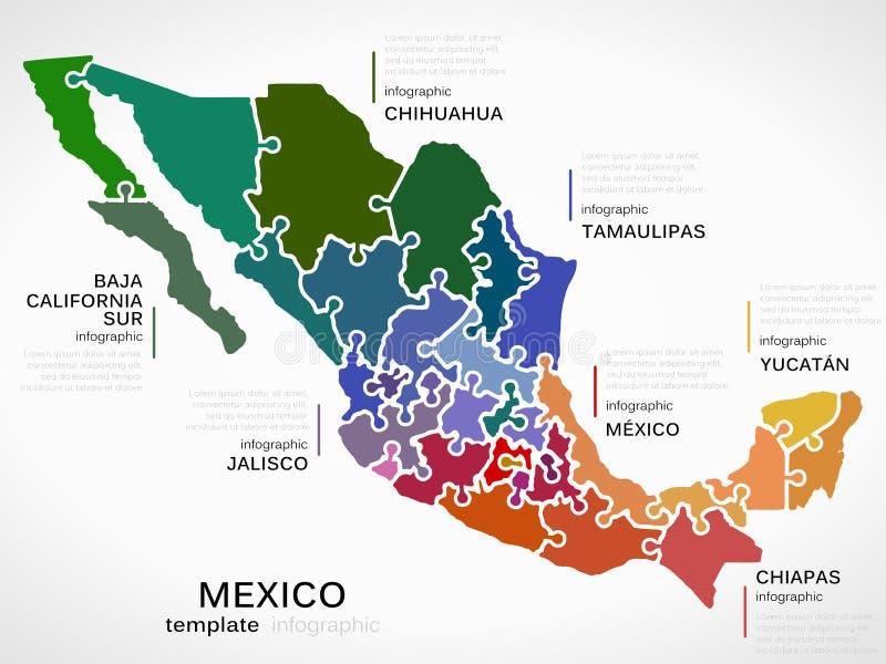 översikt mexico vektor illustrationer