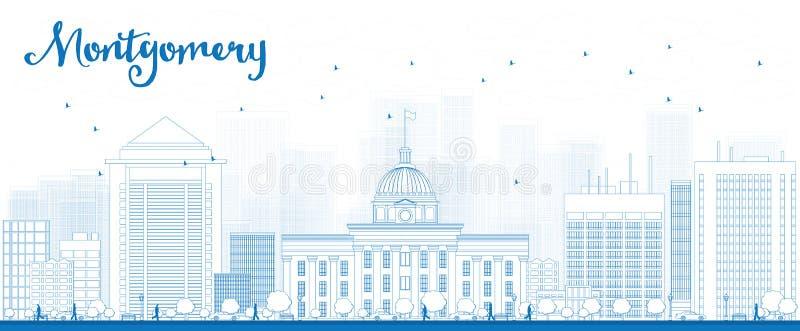 Översikt Montgomery Skyline med blåa byggnader vektor illustrationer
