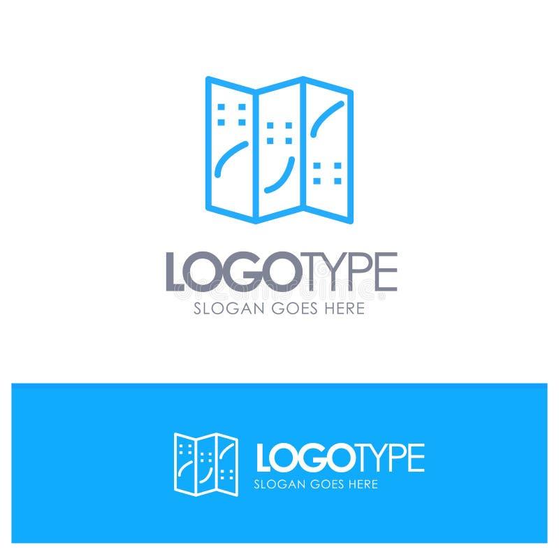 Översikt navigering, blå översikt Logo Place för läge för Tagline stock illustrationer