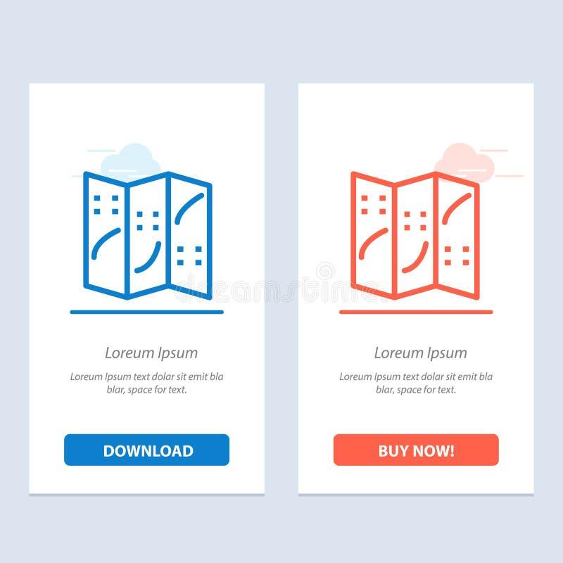 Översikt, navigering, lägeblått och röd nedladdning och att köpa nu mallen för rengöringsdukmanickkort vektor illustrationer