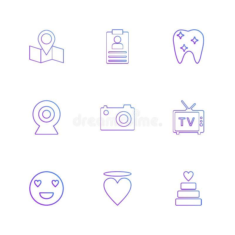 översikt navigering, tänder, kamera, tv, hjärta, emoji, kaka, royaltyfri illustrationer
