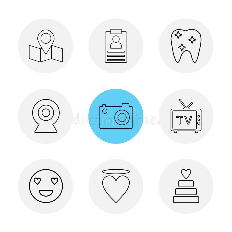 översikt navigering, tänder, kamera, tv, hjärta, emoji, kaka, vektor illustrationer
