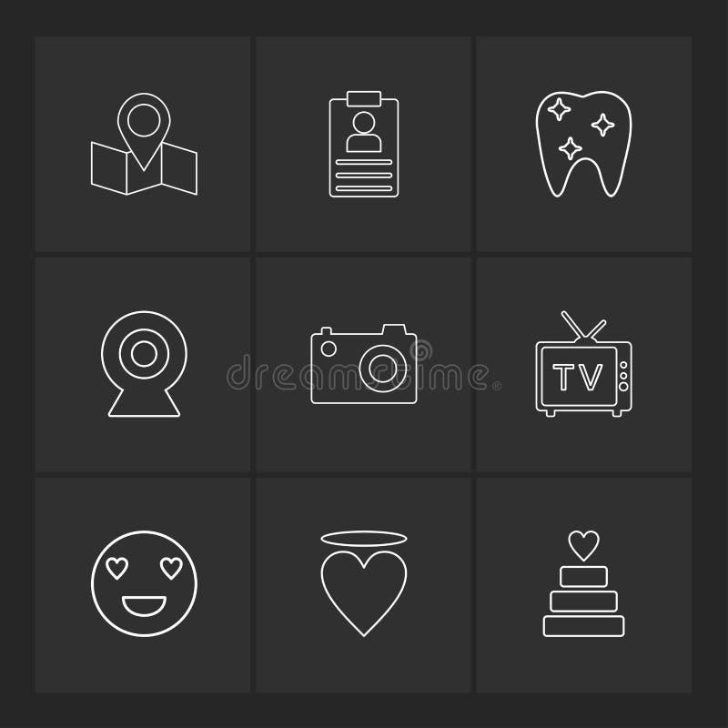 översikt navigering, tänder, kamera, tv, hjärta, emoji, kaka, stock illustrationer