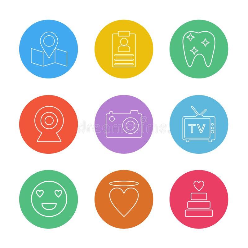 översikt navigering, tänder, kamera, tv, hjärta, emoji, kaka royaltyfri illustrationer