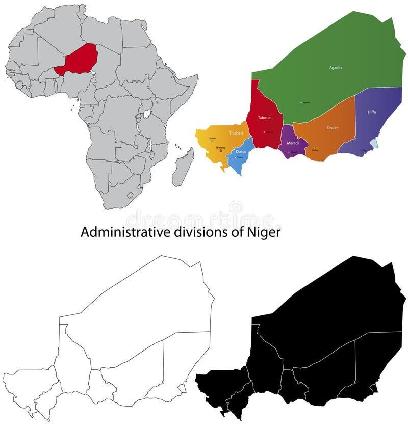 översikt niger royaltyfri illustrationer