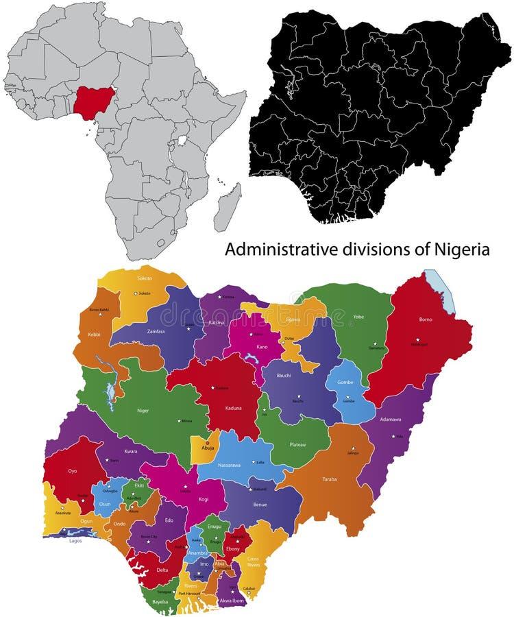 översikt nigeria royaltyfri illustrationer
