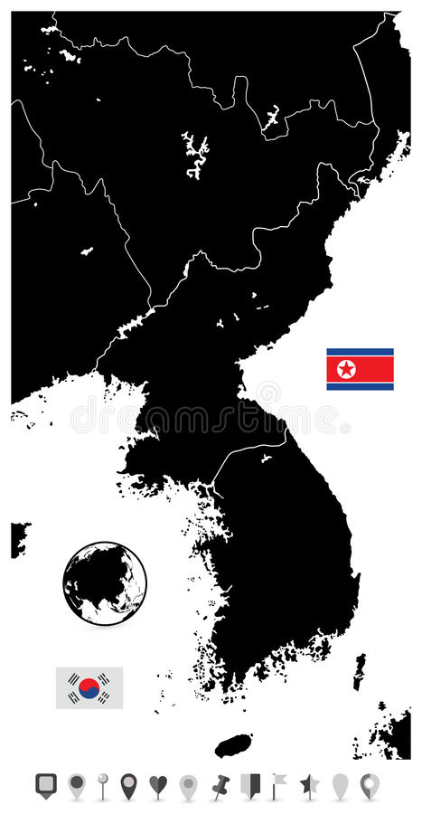 Översikt, nord och Sydkorea och lägenhet för Koreahalvösvartmellanrum vektor illustrationer