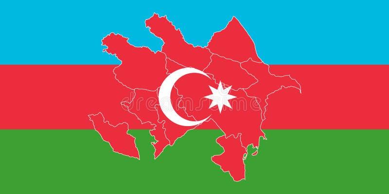 Översikt och flagga av Azerbajdzjan vektor illustrationer