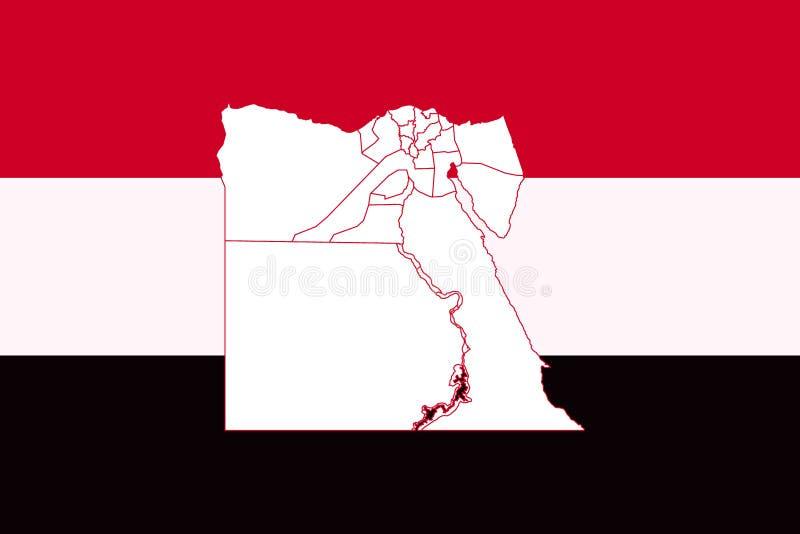 Översikt och flagga av Egypten royaltyfri illustrationer