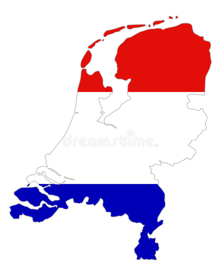 Översikt och flagga av Nederländerna royaltyfri illustrationer