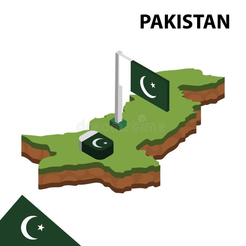 Översikt och flagga för information grafisk pakistanska isometrisk isometrisk illustration f?r vektor 3d stock illustrationer