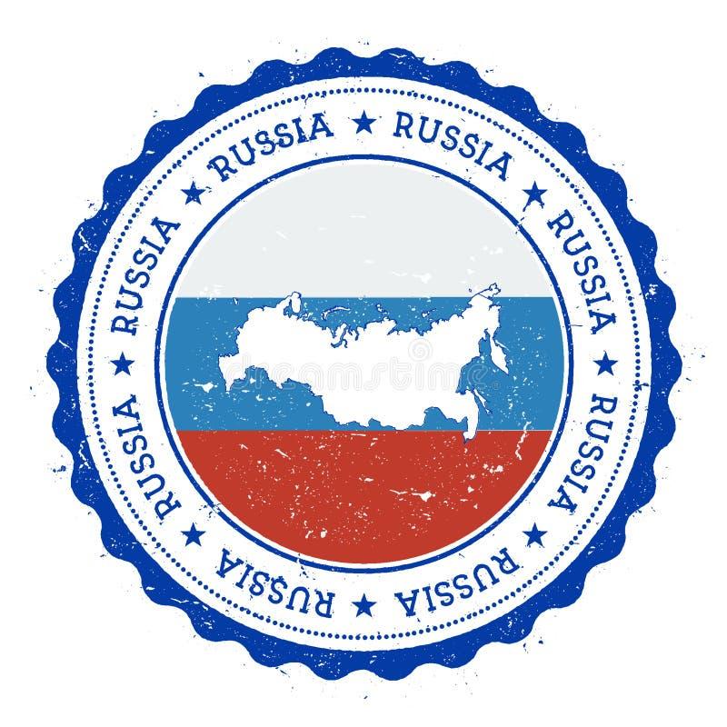 Översikt och flagga för rysk federation i tappninggummi vektor illustrationer
