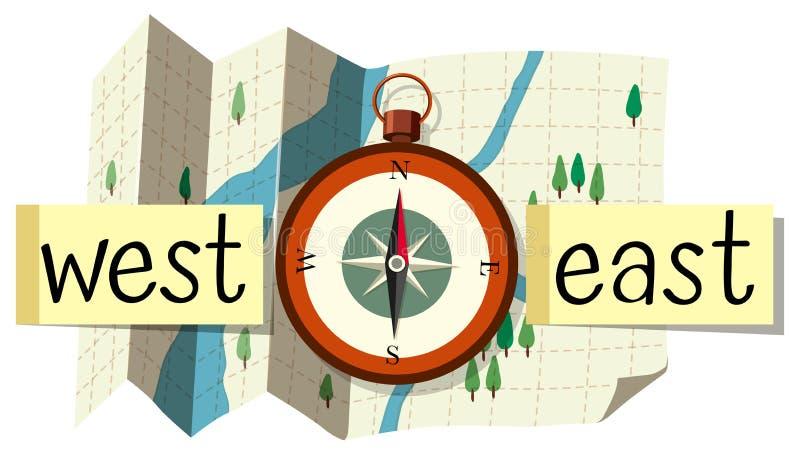 Översikt och kompass för riktning stock illustrationer