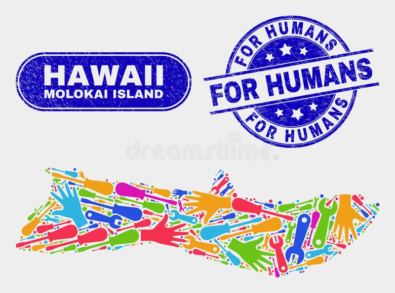 Översikt och nödläge för enhetsMolokai ö för människaskyddsremsor stock illustrationer