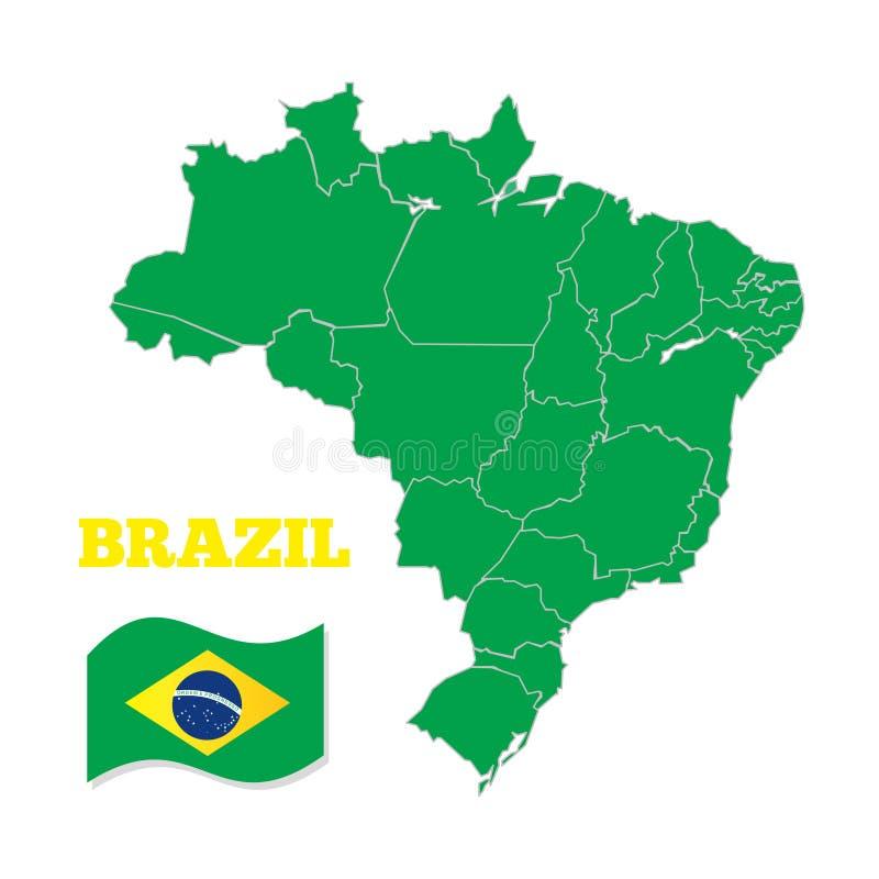 Översikt och nationsflagga av Brasilien vektor illustrationer