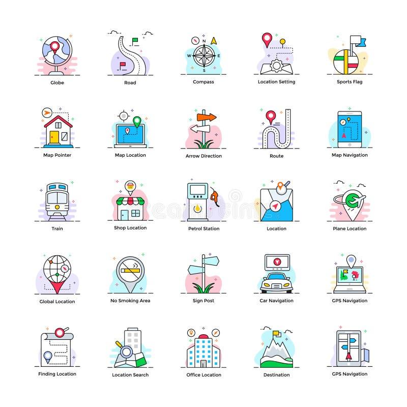 Översikt och plana symboler för lopp stock illustrationer