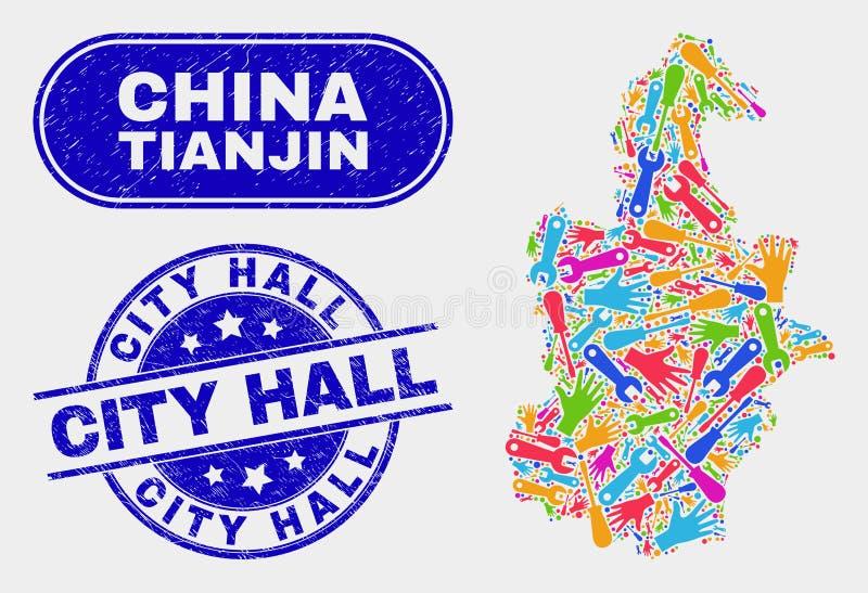 Översikt och skrapad stad Hall Stamp Seals för produktivitetsTianjin stad royaltyfri illustrationer
