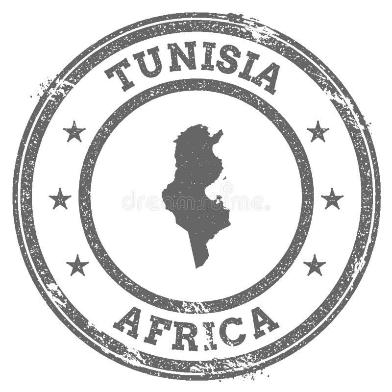 Översikt och text för rubber stämpel för Tunisien grunge stock illustrationer