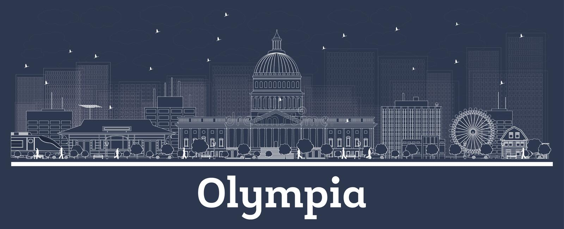 Översikt Olympia Washington City Skyline med vita byggnader royaltyfri illustrationer