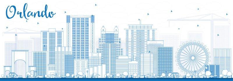 Översikt Orlando Skyline med blåa byggnader vektor illustrationer