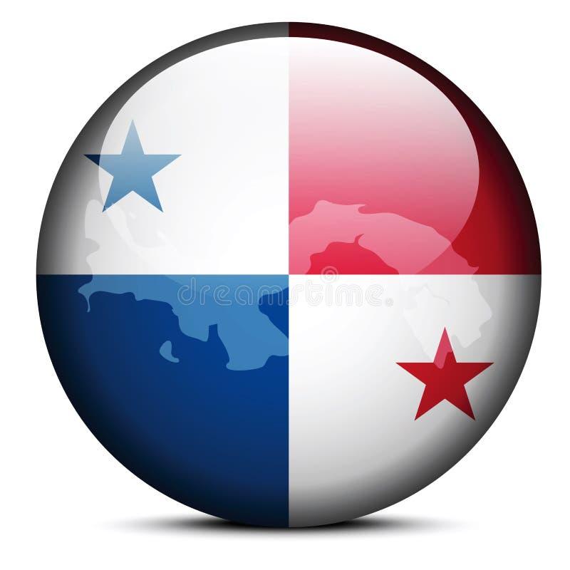 Översikt på flaggaknappen av republiken Panama stock illustrationer