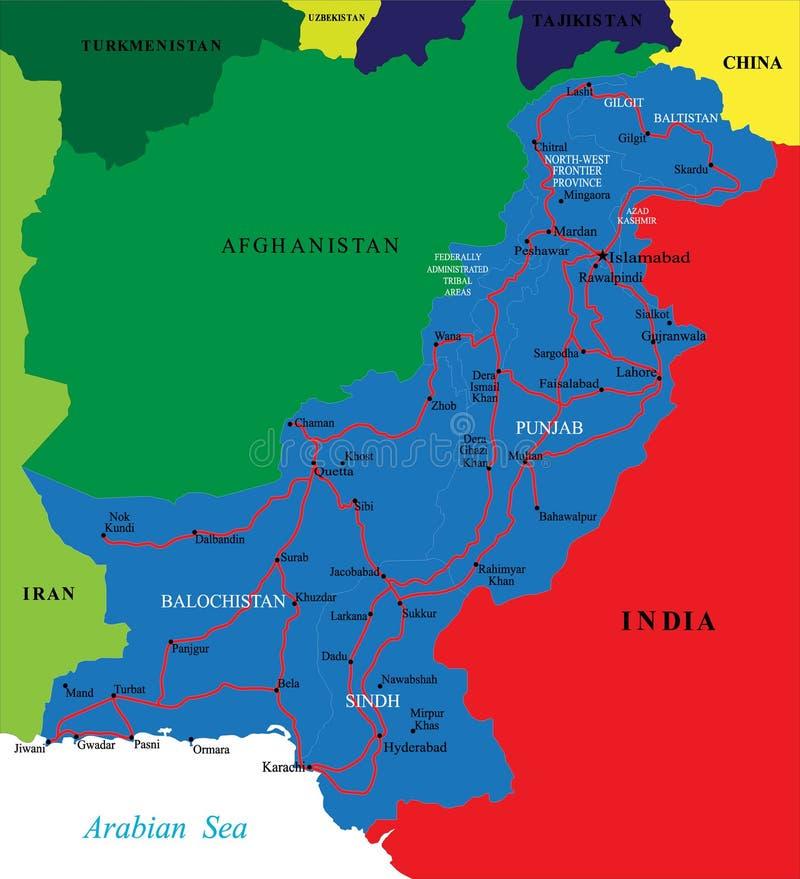 översikt pakistan royaltyfri illustrationer