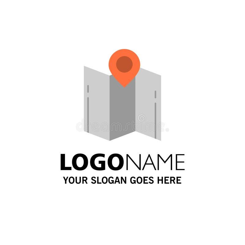 Översikt riktning, läge, navigering, pekareaffär Logo Template plan f?rg stock illustrationer