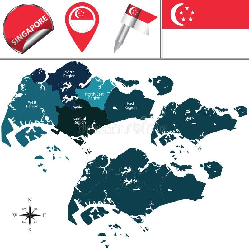 översikt singapore royaltyfri illustrationer
