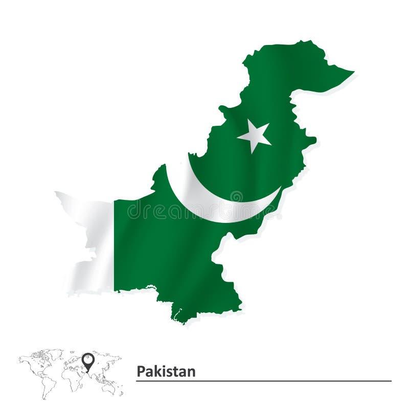 Översikt som är pakistansk med flaggan royaltyfri illustrationer
