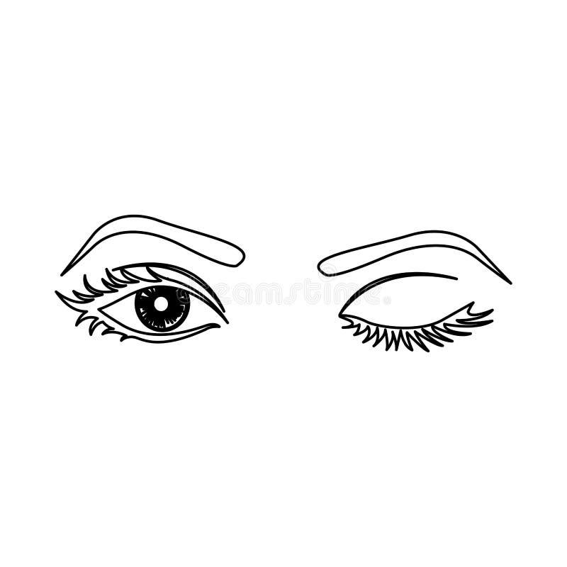 översikt som blinkar kvinnas ögonsymbolen vektor illustrationer
