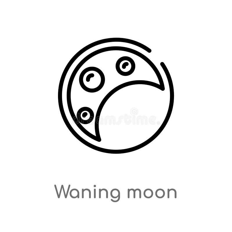 översikt som försvagas månevektorsymbolen isolerad svart enkel linje beståndsdelillustration från väderbegrepp Redigerbar vektors stock illustrationer