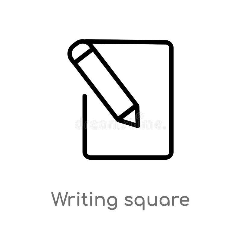 översikt som skriver den fyrkantiga vektorsymbolen isolerad svart enkel linje beståndsdelillustration från användargränssnittbegr royaltyfri illustrationer