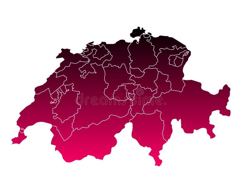 översikt switzerland royaltyfri illustrationer