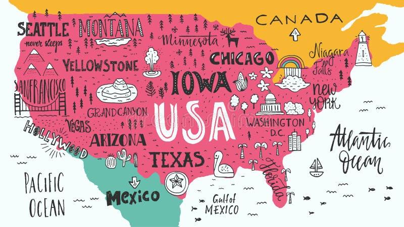 översikt USA royaltyfri illustrationer