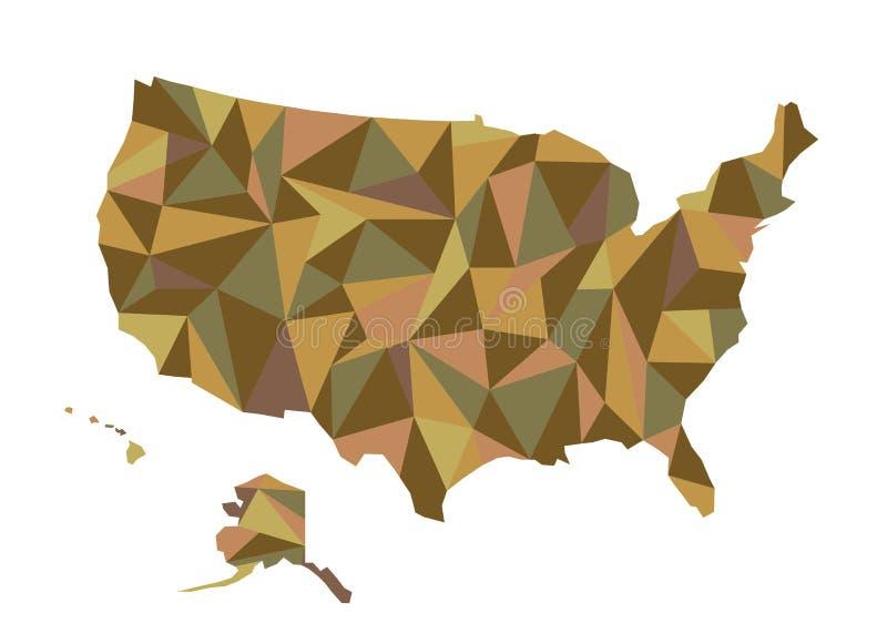 översikt USA Isolerad vektorillustration Förenta staterna av Ameri vektor illustrationer