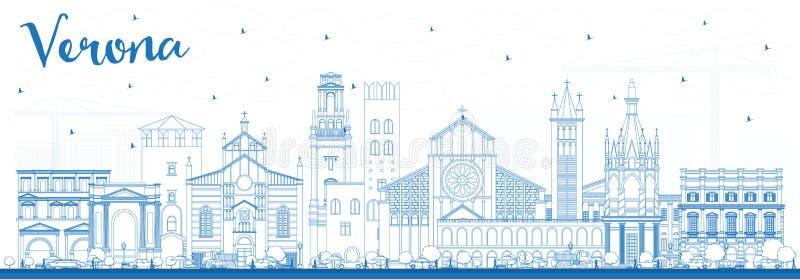 Översikt Verona Italy City Skyline med blåa byggnader royaltyfri illustrationer