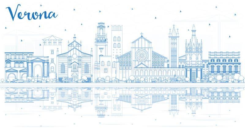 Översikt Verona Italy City Skyline med blåa byggnader och reflexioner stock illustrationer