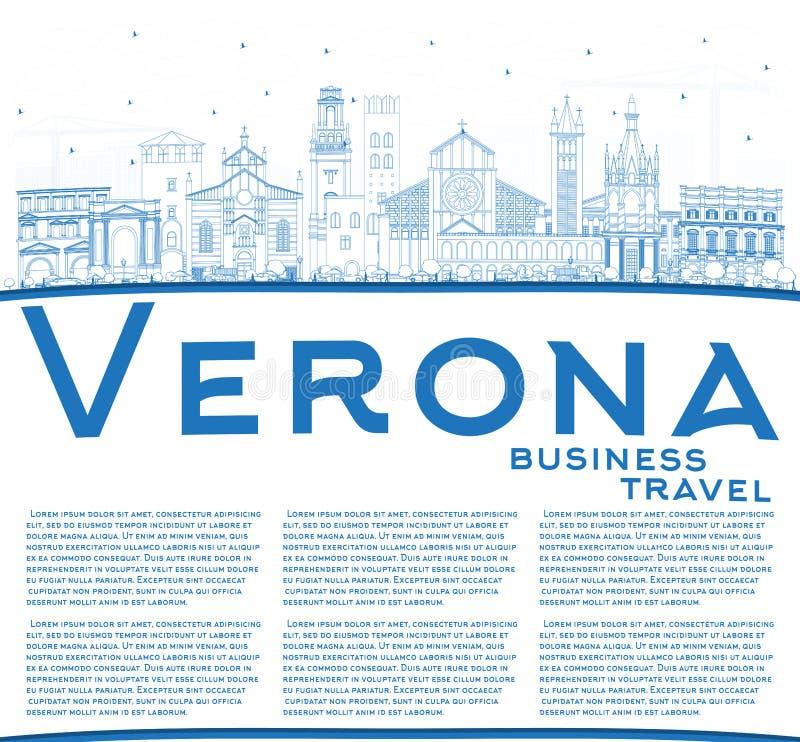 Översikt Verona Italy City Skyline med blått byggnader och kopieringsutrymme vektor illustrationer
