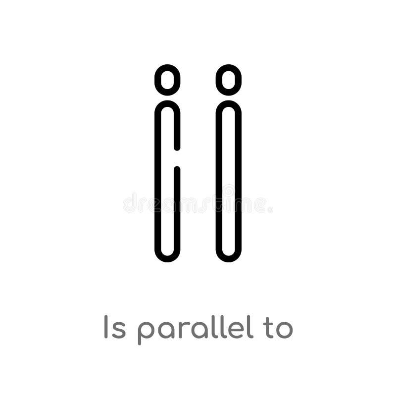 översikten är den parallella vektorsymbolen isolerad svart enkel linje beståndsdelillustration från teckenbegrepp den redigerbara royaltyfri illustrationer