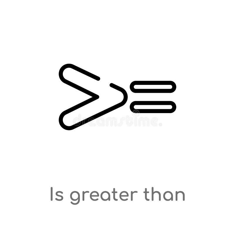översikten är större än eller jämbördig till vektorsymbol isolerad svart enkel linje beståndsdelillustration från teckenbegrepp r vektor illustrationer
