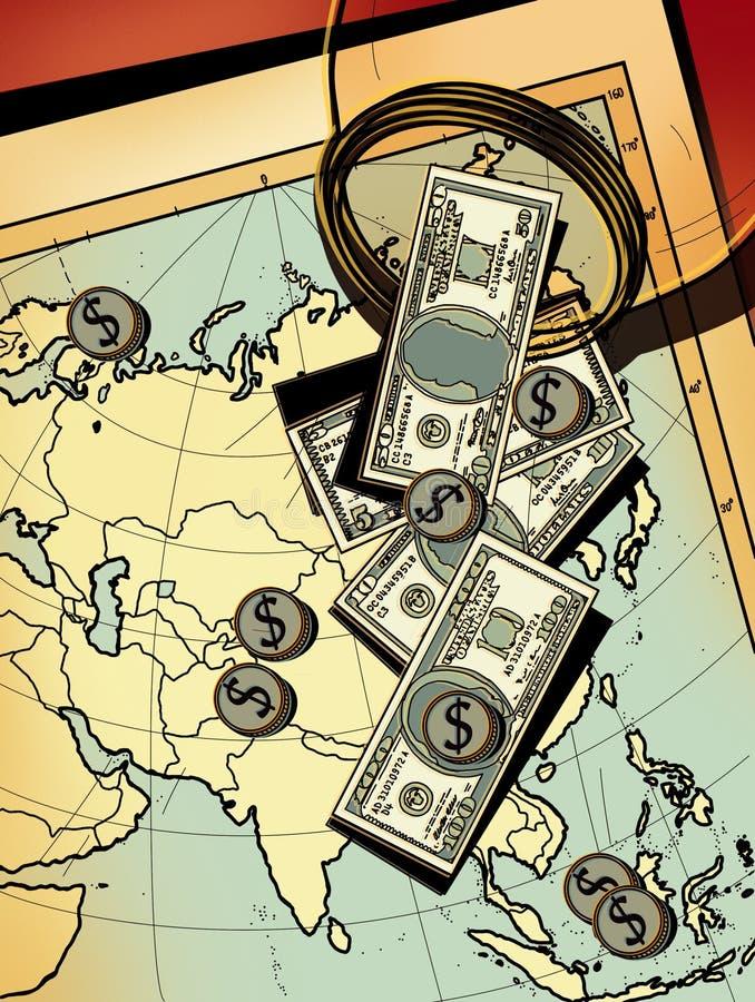Översikten av Asien, Japan, Filippinerna, Indien och Indonesien med pengardollaren hällde på den från en exponeringsglaskrus - rä royaltyfri illustrationer