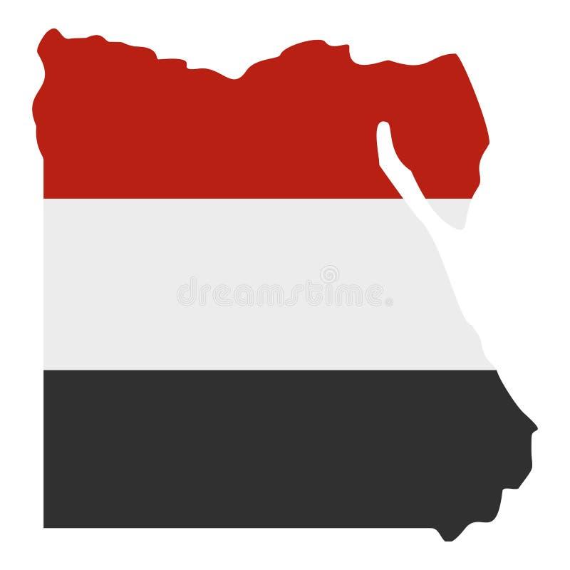 Översikten av Egypten i egyptisk flagga färgar den isolerade symbolen stock illustrationer