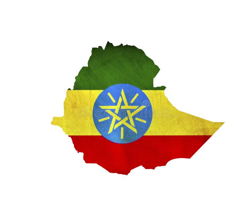 Översikten av Etiopien isolerade royaltyfri foto