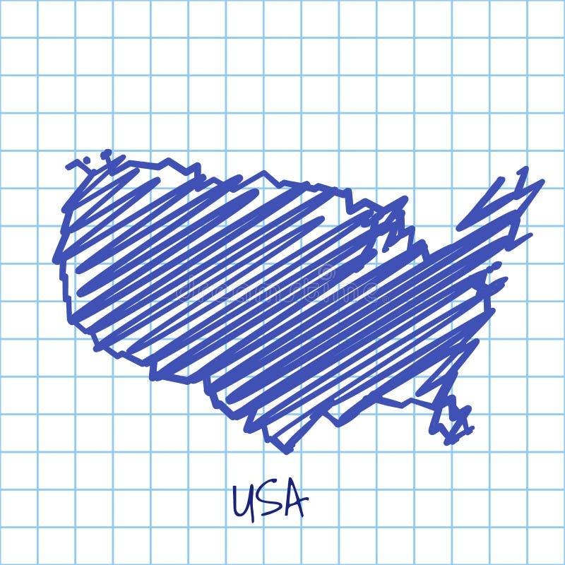 Översikten av Förenta staterna, blått skissar abstrakt bakgrund royaltyfri illustrationer