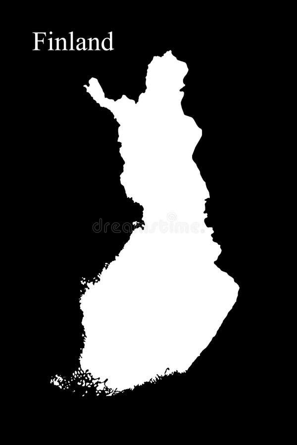 Översikten av Finland isolerade på svart illustration för bakgrund 3D royaltyfri illustrationer