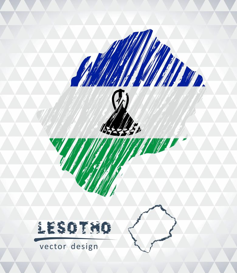 Översikten av Lesotho med den drog handen skissar pennöversikten inom också vektor för coreldrawillustration vektor illustrationer